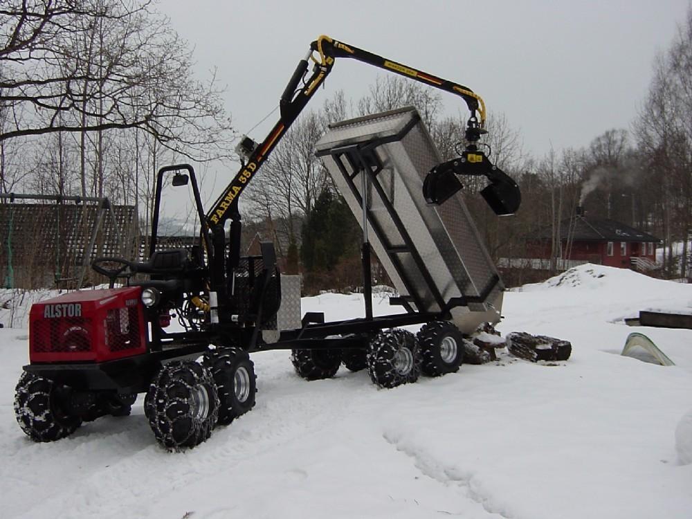 Lumiketjut, hydraulinen kippilava ja kuormaimeen teräskauhat
